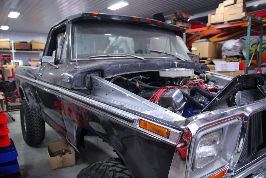 pickup truck in auto shop